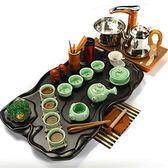 茶具套裝功夫茶蓮花茶盤木質家用全自動四合一茶台紫砂功夫整套茶具套裝茶道茶杯Igo cy潮流站
