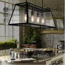 美術燈 RH創意美式鄉村複古創意餐廳黑色愛迪生玻璃箱(四燈版本 梯形)-不含光源