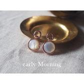 early Morning - 玥色小懷錶 仿月光石耳環 韓版【ER123】