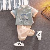 男童套裝漢服男童寶寶中國風唐裝夏男孩古裝棉麻套裝嬰兒夏裝兒童國學服男 米蘭