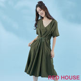 Red House-蕾赫斯-V領素面長洋裝(共3色) 滿2000元現抵250元