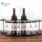 木制酒架紅酒架創意歐式葡萄實木酒架酒杯架倒掛酒櫃擺件   WD