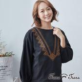 【Tiara Tiara】百貨同步 民俗風繡紋長袖上衣(黑)