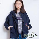 betty's貝蒂思 連帽抽繩拉鍊休閒外套(藍色)