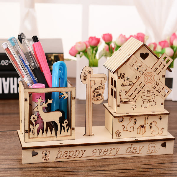 CH161─風車房屋音樂盒創意木質八音盒桌面擺件畢業禮物送老師同學(隨機出貨)
