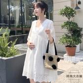 孕婦裝夏裝過膝長款寬鬆氣質雪紡孕婦身衣裙【時尚大衣櫥】