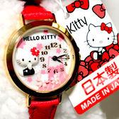 日本製 Hello Kitty 櫻花與富士山 立體造型手錶 日本限定 附精美禮盒 值得收藏