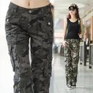 戶外迷彩褲女夏季女褲子長褲修身顯瘦工裝褲寬鬆軍裝多口袋登山褲 依凡卡時尚