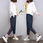 中大尺碼 2018夏夏新款小清新棉麻套裝寬鬆大碼女裝歐貨休閒兩件套潮 LI3043『伊人雅舍』
