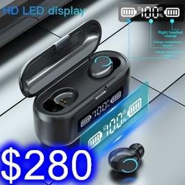 夏新F9-43藍牙耳機 雙耳耳機充電倉+行動電源 觸控按鍵 磁吸充電 2000豪安 英文版