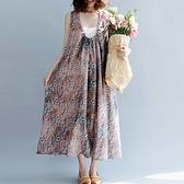 連身裙-無袖抽繩鬆緊領口碎花女洋裝73te39【巴黎精品】