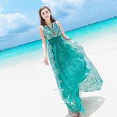 女夏綠色V領修身高腰吊帶大擺連衣裙海邊度假沙灘裙『櫻花小屋』