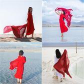 絲巾夏季防曬披肩女棉麻圍巾民族風沙漠海邊超大兩用絲巾海灘度假