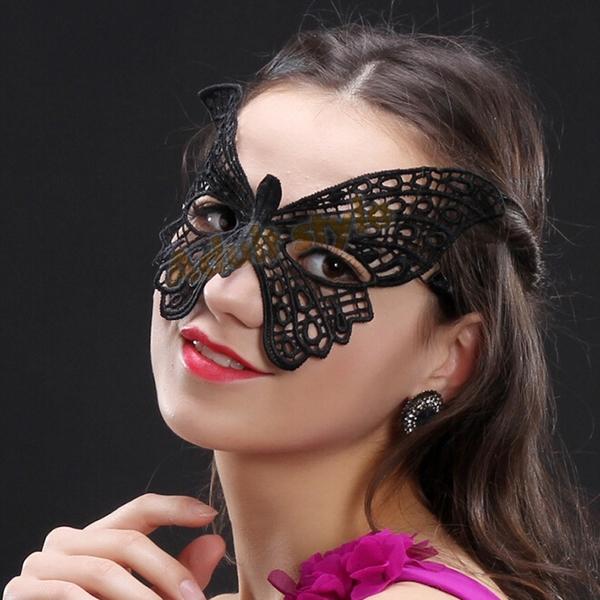 角色扮演 變裝派對 舞蝶幻境鏤空蕾絲眼罩(黑色)『金鼠報喜』