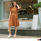 《DA8633》純色高含棉觸膚涼感收腰綁帶洋裝 OrangeBear