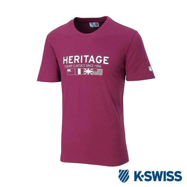 K-SWISS Heritage Flag Tee印花短袖T恤-男-酒紅