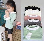 女童長袖內搭衣 兒童秋衣女童長袖純棉內搭T恤上衣花邊圓領蕾絲袖寶寶純色打底衫 宜室家居
