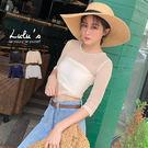 LULUS-M網格五分袖上衣-4色  【01190460】