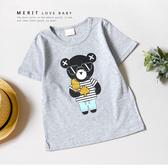 純棉 墨鏡小熊冰淇淋黑桃休閒短T 上衣 短袖 灰色 竹節棉 冰棒 燙金 灰色 男童 哎北比童裝