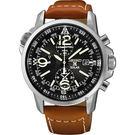 SEIKO 精工 Solar 超越極速計時腕錶-黑x咖啡帶/42mm V172-0AG0J(SSC081P1)