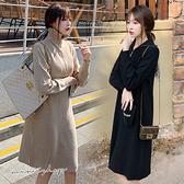 孕婦裝 MIMI別走【P521584】溫暖立領 造型拉鍊針織毛衣裙 孕婦裙