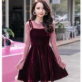 美之札[98718-QF]小香風chic不倒絨吊帶唯美兩件套吊帶洋裝(上衣+吊帶裙) ~