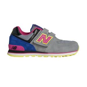 New Balance 紐巴倫 574系列 魔鬼氈 復古鞋 童鞋 - 灰X粉X藍 KV57406Y