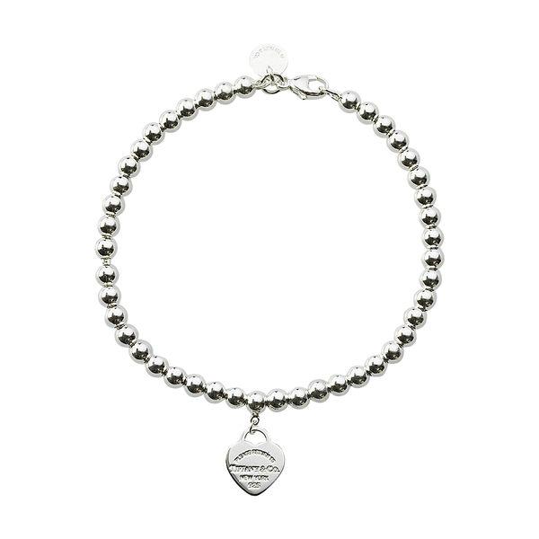 Tiffany & Co.銀色迷你心型純銀串珠手鍊