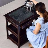 茶車 唐春茶車實木移動茶臺泡茶桌邊幾茶具烏金石茶盤中式仿古家用帶輪 第六空間 MKS