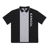KANGOL 男款黑灰色休閒短袖POLO上衣-NO.6121130120