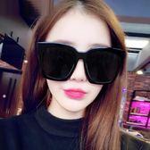 加大方形超黑太陽鏡男顯瘦圓臉開車偏光墨鏡女潮韓國個性眼鏡·花漾美衣