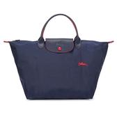 Longchamp Le Pliage刺繡LOGO短提把中型尼龍摺疊水餃包(海軍藍)480207-556