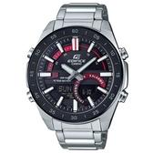 【CASIO】 EDIFICE 十年電力3D立體時刻雙顯不鏽鋼錶-赭紅(ERA-120DB-1A)