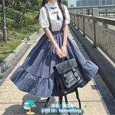 背帶裙連身裙洋裝夏季復古吊帶連衣裙 復古百搭顯瘦襯衫單件套裝 風之海