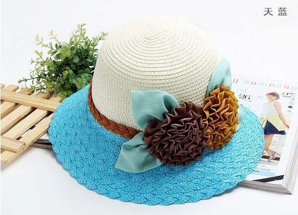 [協貿國際]韓版夏天帽子可折疊遮陽帽草帽A款天空藍