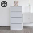 收納櫃 韓國製 置物櫃 衣櫃 塑膠櫃 【G0010】韓國SHABATH Pure極簡主義收納四層櫃40CM(灰色) 收納專科