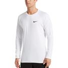 Nike 白 長袖 緊身防曬衣 抗紫外線 腳踏車服 UPF 40+ 吸濕 排汗 游泳 健身 上衣 NESS9532-100