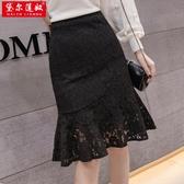 魚尾裙半身裙女夏中長款黑色蕾絲包臀裙高腰顯瘦新品潮a字裙(速度出貨)