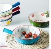 8寸手柄焗飯碗帶把陶瓷烤碗創意米飯碗湯碗早餐碗水果沙拉碗涼拌    交換禮物