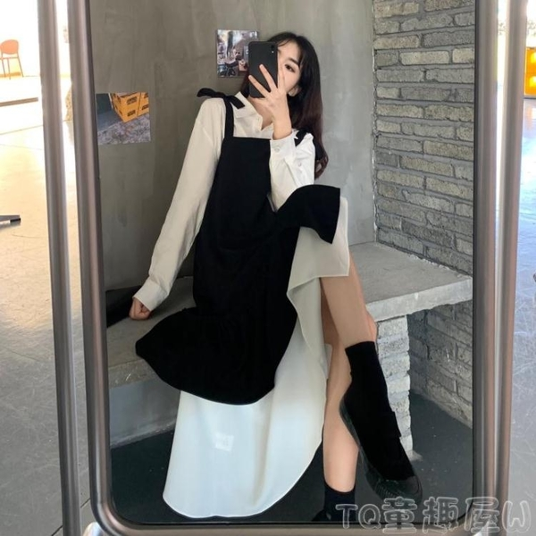 套裝裙 大碼胖mm顯瘦新款連身裙女裝設計感時尚兩件套裝吊帶背帶長裙秋冬 童趣屋 免運