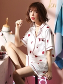 爆款熱銷冰絲睡衣睡衣女夏季冰絲綢草莓兩件套性感短袖學生薄款家居服套裝韓版大碼聖誕節