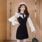 VK精品服飾 韓系蕾絲襯衫上衣細肩帶連身裙裙套裝長袖裙裝