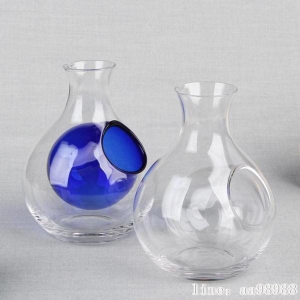 酒壺 6AJ日式冰酒壺無鉛玻璃拇指清酒壺藍色凹洞醒酒器冰酒分離酒具 韓菲兒