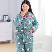 開年大促88折 睡衣女冬法蘭絨三層保暖棉襖中老年睡衣套裝