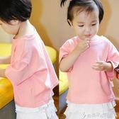 女童夏裝T恤短袖兒童韓版圓領純色半袖寬鬆上衣防曬衣服奇思妙想屋