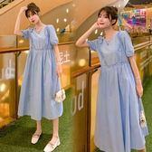 漂亮小媽咪 洋裝 【D1688】 詮釋優雅 泡泡袖 純色 長裙 短袖 孕婦裝 洋裝 長洋裝