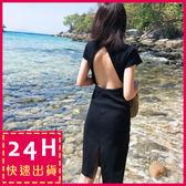 梨卡★現貨 - 性感沙灘渡假大露背氣質顯瘦黑色連身短裙洋裝沙灘裙C6276