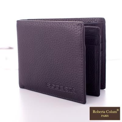 【Roberta Colum】法國荔枝紋軟牛皮左右翻卡片夾短夾-黑色