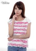 Victoria 透視花朵印條寬鬆落肩短袖T-女-桃紅-V8534612
