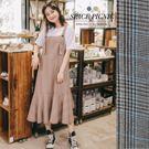 吊帶 洋裝 Space Picnic|格紋波浪邊設計吊帶裙(預購)【C19012017】
